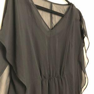 Black Sheer Butterfly Sleeve Dress
